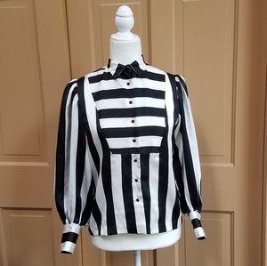 Tops - Vintage 80s puff shoulder sleeve button blouse